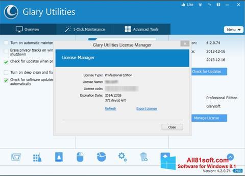 截图 Glary Utilities Windows 8.1