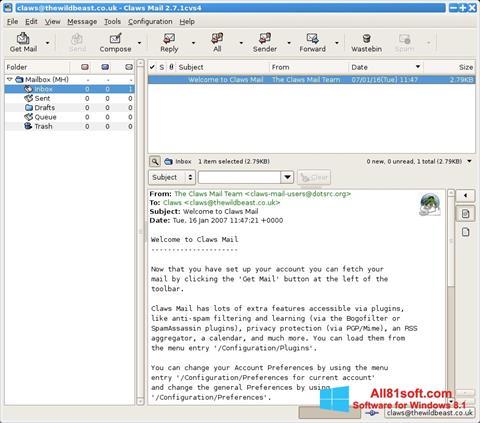 截图 Claws Mail Windows 8.1