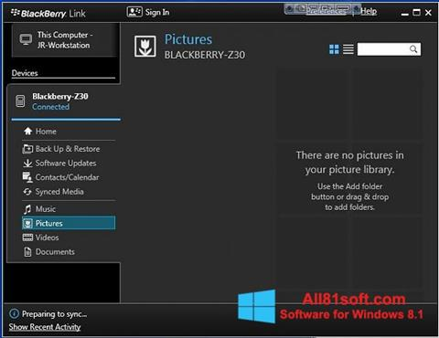 截图 BlackBerry Link Windows 8.1