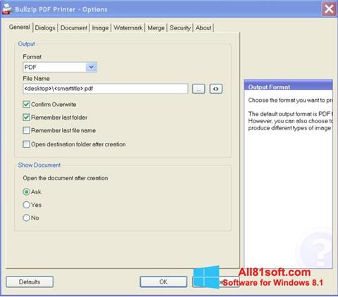 截图 BullZip PDF Printer Windows 8.1