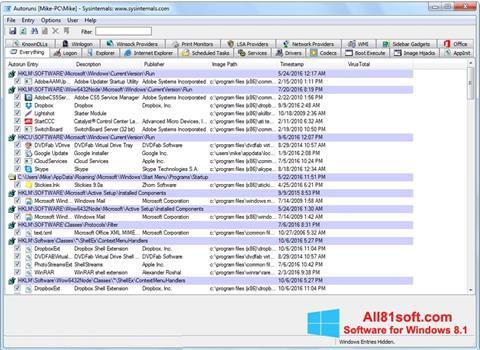 截图 AutoRuns Windows 8.1