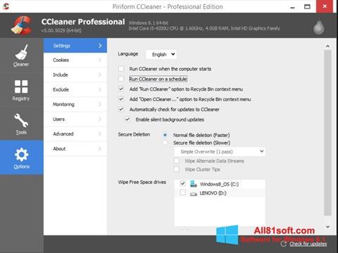 截图 CCleaner Windows 8.1