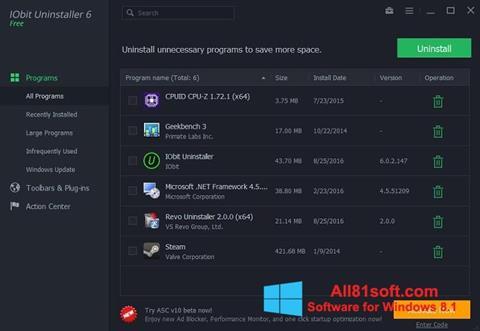 截图 IObit Uninstaller Windows 8.1